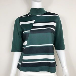 I1-9: Zara Green Black & White Striped Size Large